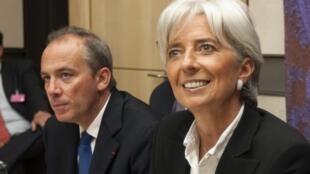 Stéphane Richard et Christine Lagarde, alors ministre de l'Economie et des Finances, à l'Assemblée nationale en 2008.
