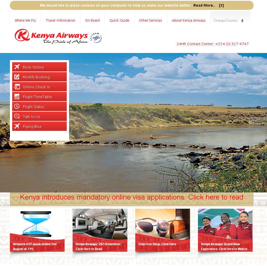 La page d'accueil de la compagnie aérienne, Kenya Airways.