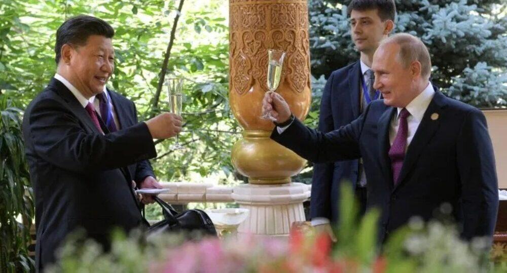 中国国家主席习近平与俄罗斯总统普京资料图片
