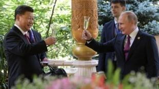 中國國家主席習近平與俄羅斯總統普京資料圖片