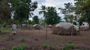 Les abris des déplacés peuls sont rudimentaires et ne protègent pas des intempéries, le 13 avril 2019, à Zémio.