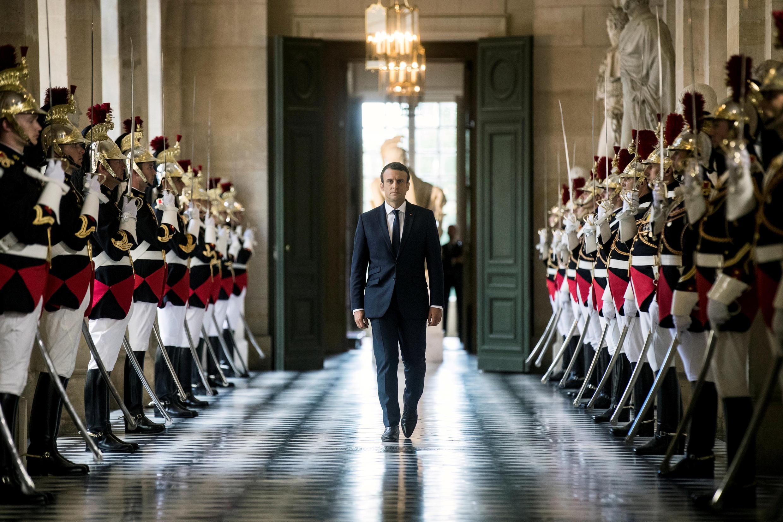 Эмманюэль Макрон в Версале перед выступлением на торжественном заседании обеих палат парламента. 3 июля 2017.
