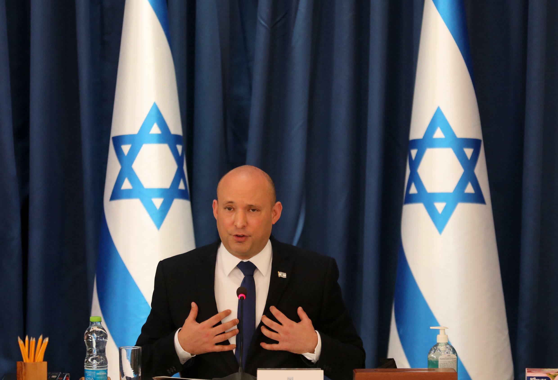 El primer ministro de Israel, Naftali Bennett, encabeza una reunión semanal de su gabinete de gobierno el 22 de agosto de 2021 en Jerusalén