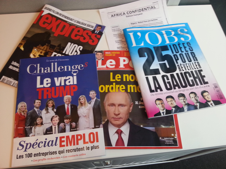 Capas de magazines news franceses de 14 de janeiro de 2017