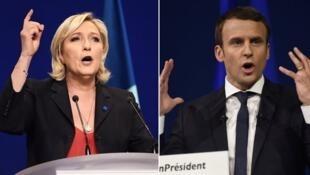 """مارین لوپن، رهبر حزب راستِ افراطی """"جبهۀ ملی"""" و امانوئل ماکرون رهبر جنبشِ """"در حرکت"""""""