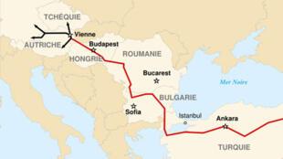 Tracé du gazoduc Nabucco, entre la mer Caspienne et l'Europe occidentale. Il évite le passage par la Russie.