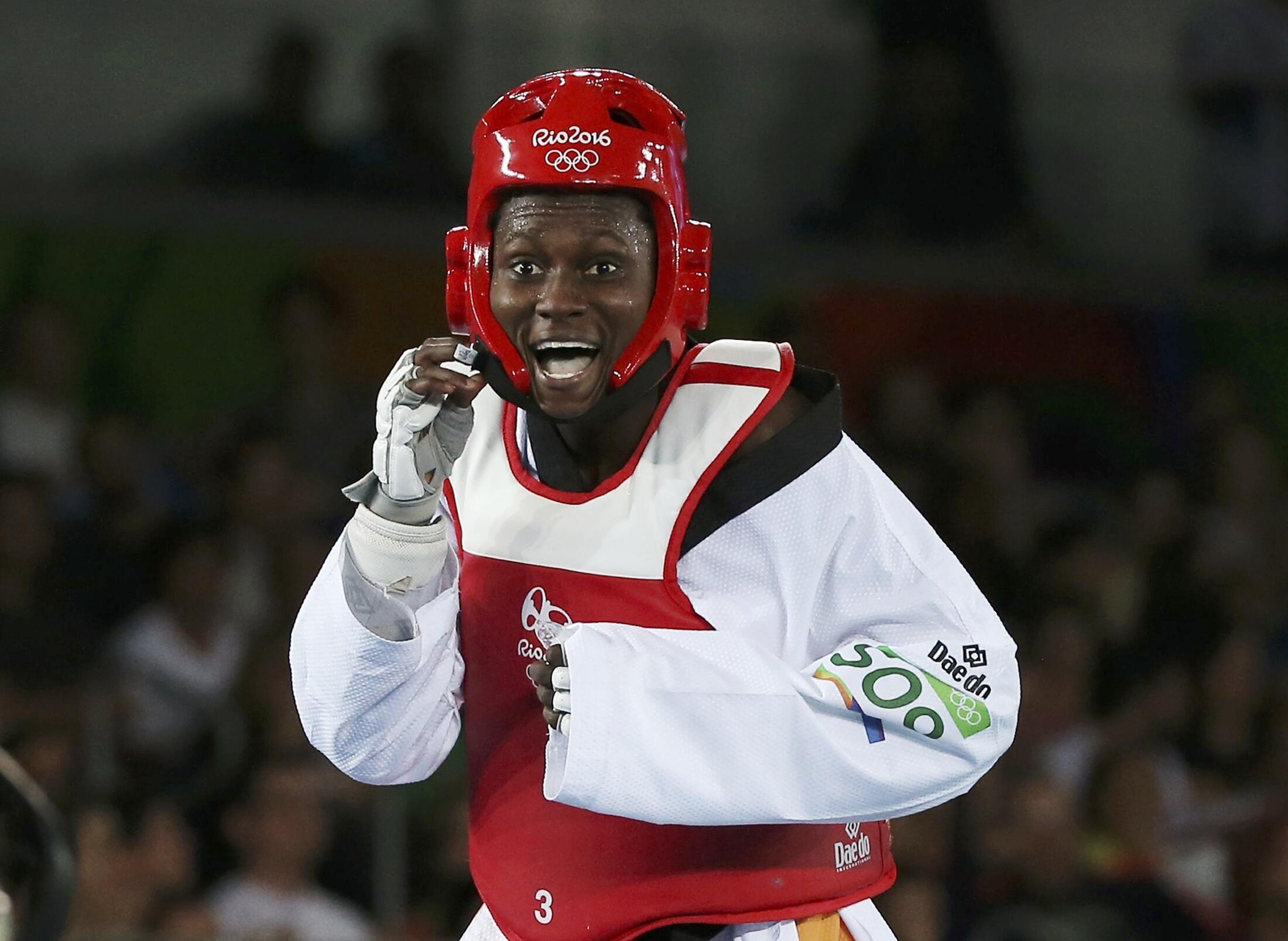 L'Ivoirienne Ruth Gbagbi, médaillée de bronze à Rio en taekwondo, le 19 août 2016.