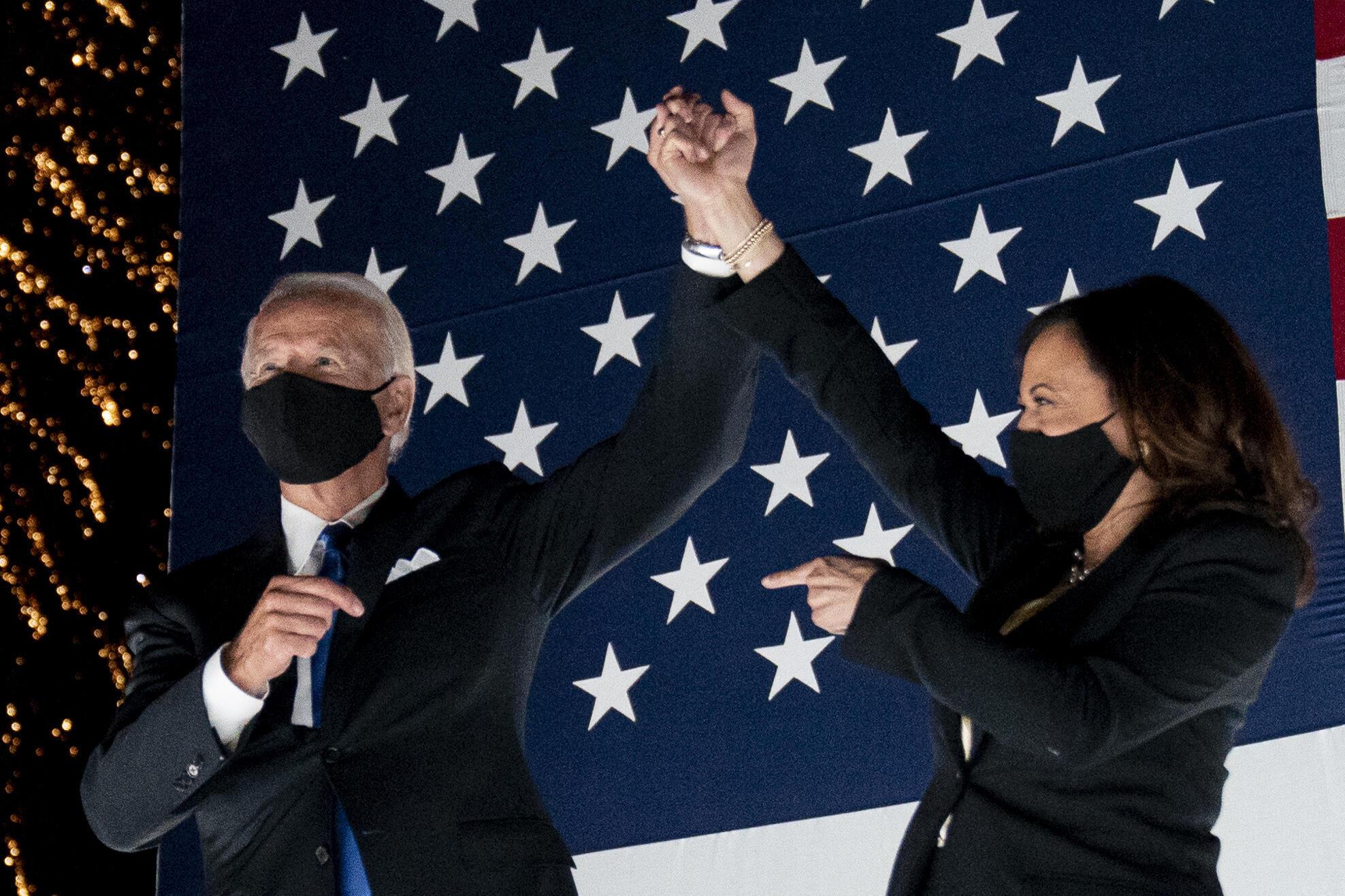 Le candidat démocrate à la présidentielle, l'ancien vice-président Joe Biden et son vice-président, le sénateur Kamala Harris, lors de la quatrième journée de la Convention nationale démocrate, le jeudi 20 août.