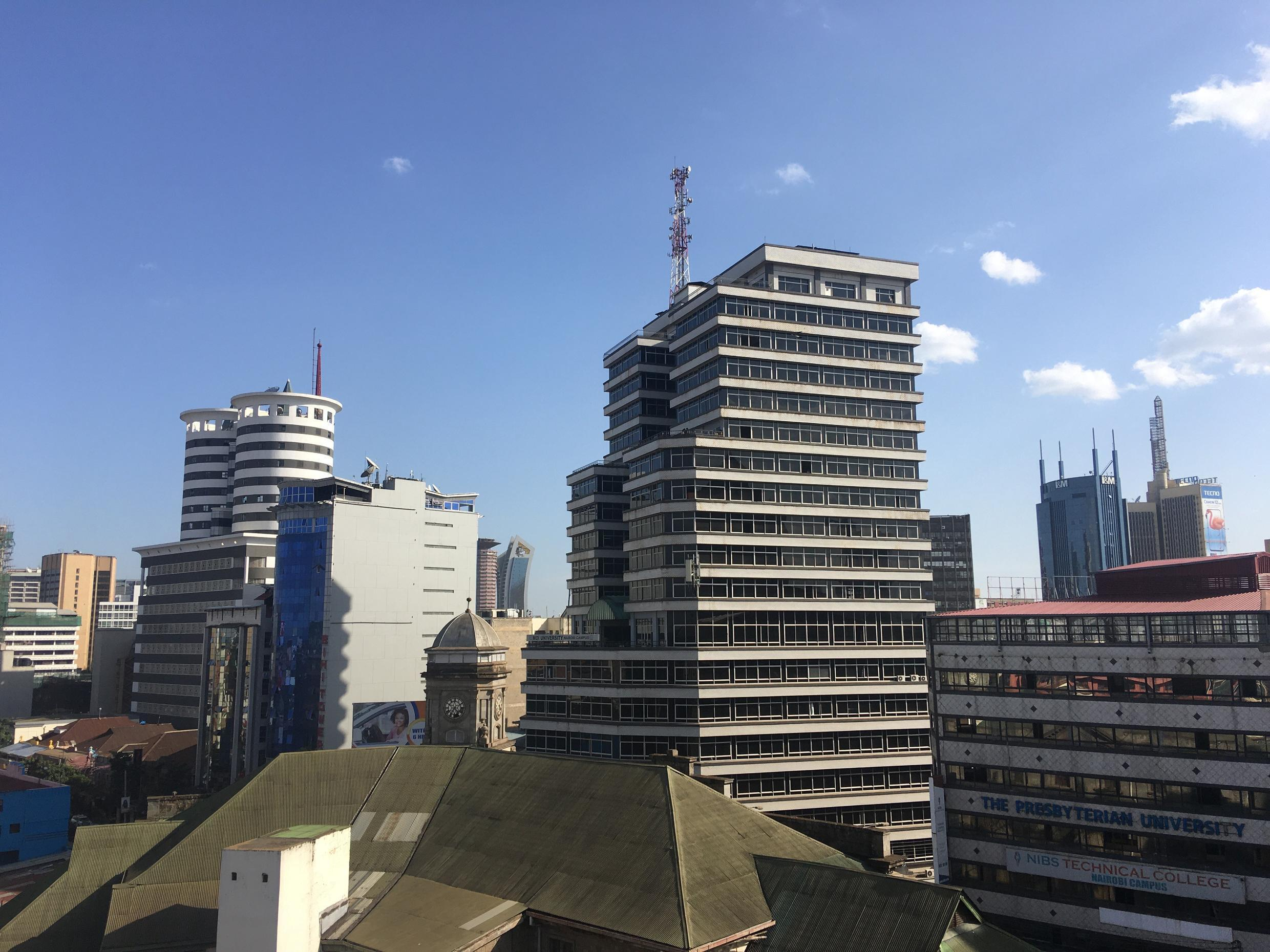 "The Twin Tower Nation Media Centre (left) in Nairobi""s Central Business District"