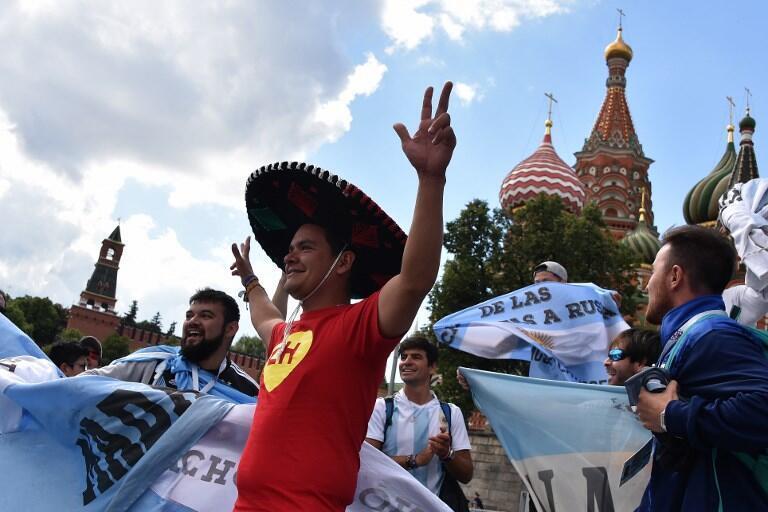 Les Latino-Américains mettent l'ambiance aux alentours du Kremlin. Moscou, le 13 juin 2018.