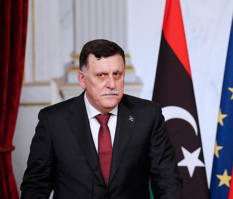 Le Premier ministre du gouvernement d'union nationale libyen Fayez el-Serraj, face aux medias à l'issue de son entretien avec François Hollande à Paris, le 27 septembre 2016.