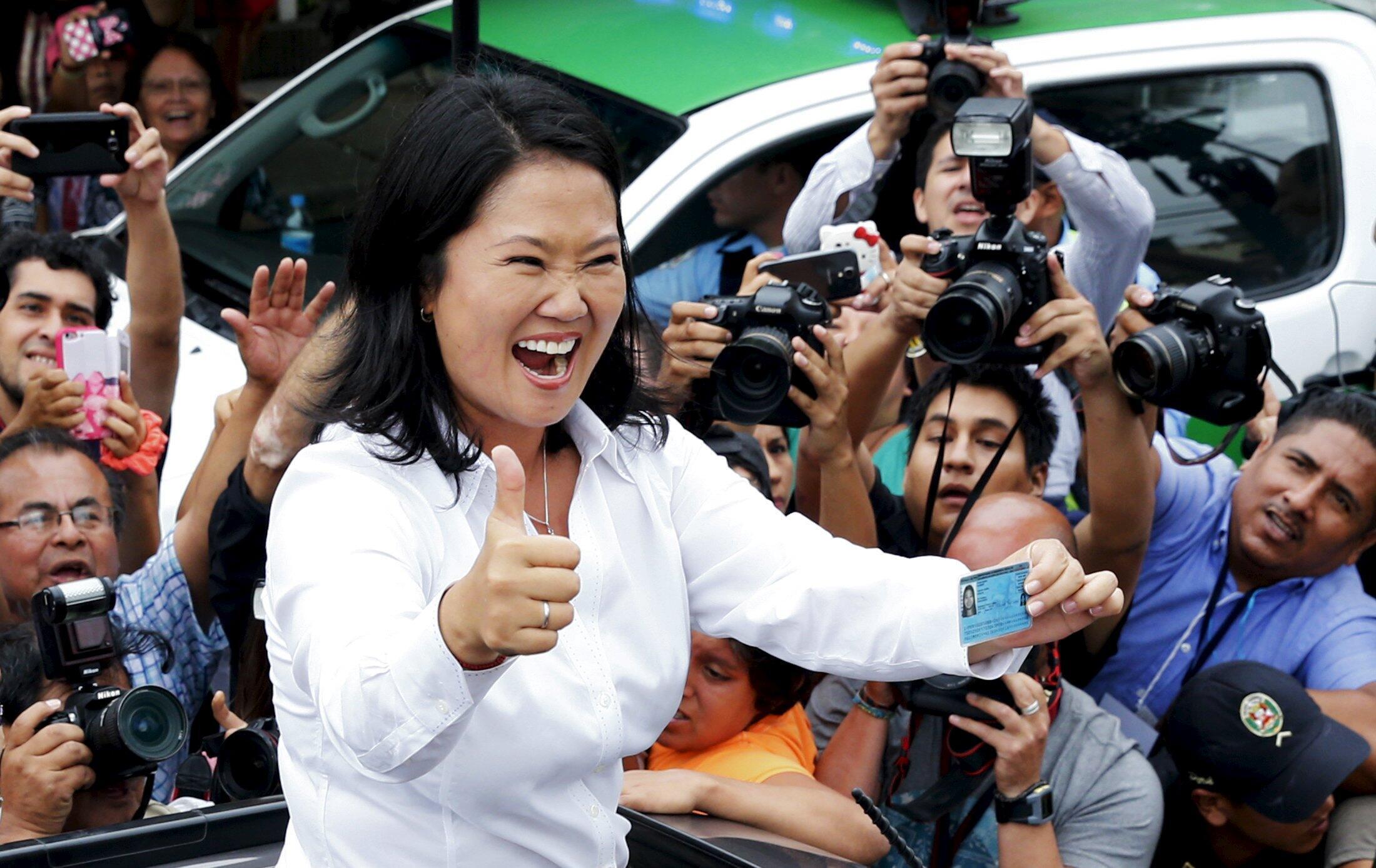 Ứng viên Keiko Fujimori sau khi bỏ phiếu ngày 10/04/2016 tại Lima.