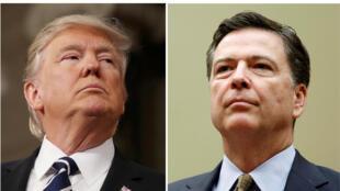 Tổng thống Mỹ Donald Trump (T) và cựu giám đốc FBI James Comey (ảnh ghép).