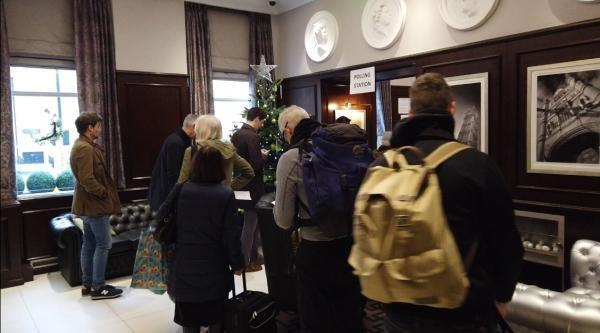 Inside the lobby of the four star Mornington Hotel that functions as a polling station for the North Westminster constituency