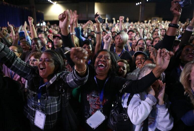 Barack Obama supporters at McCormick Place, Chicago.