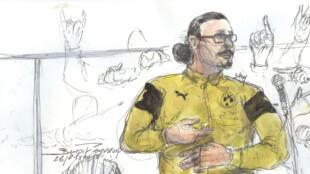 Un dessin représentant le prévenu Jawad Bendaoud lors du troisième jour de son procès, le 26 janvier, au Palais de Justice de Paris.