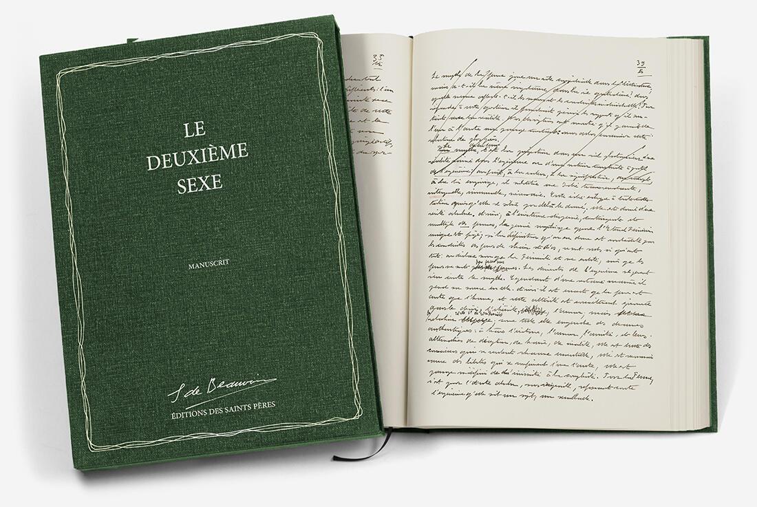 """Couverture du manuscrit """"Le deuxième sexe"""""""