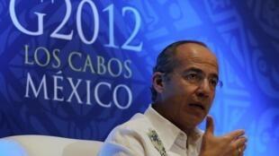 Rais wa Mexico Felipe Calderon ambaye nchi yake ilikuwa mwenyeji wa mkutano wa G20