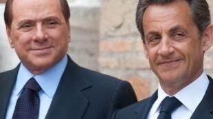 raia wa ufaransa Nicolas Sarkozy na waziri mkuu wa Italia Sulvio Berlusconi