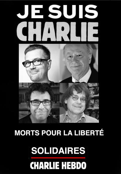 Cartoonists Charb, Wolinski, Tignous and Cabu on a poster declaring solidarity with Charlie Hebdo