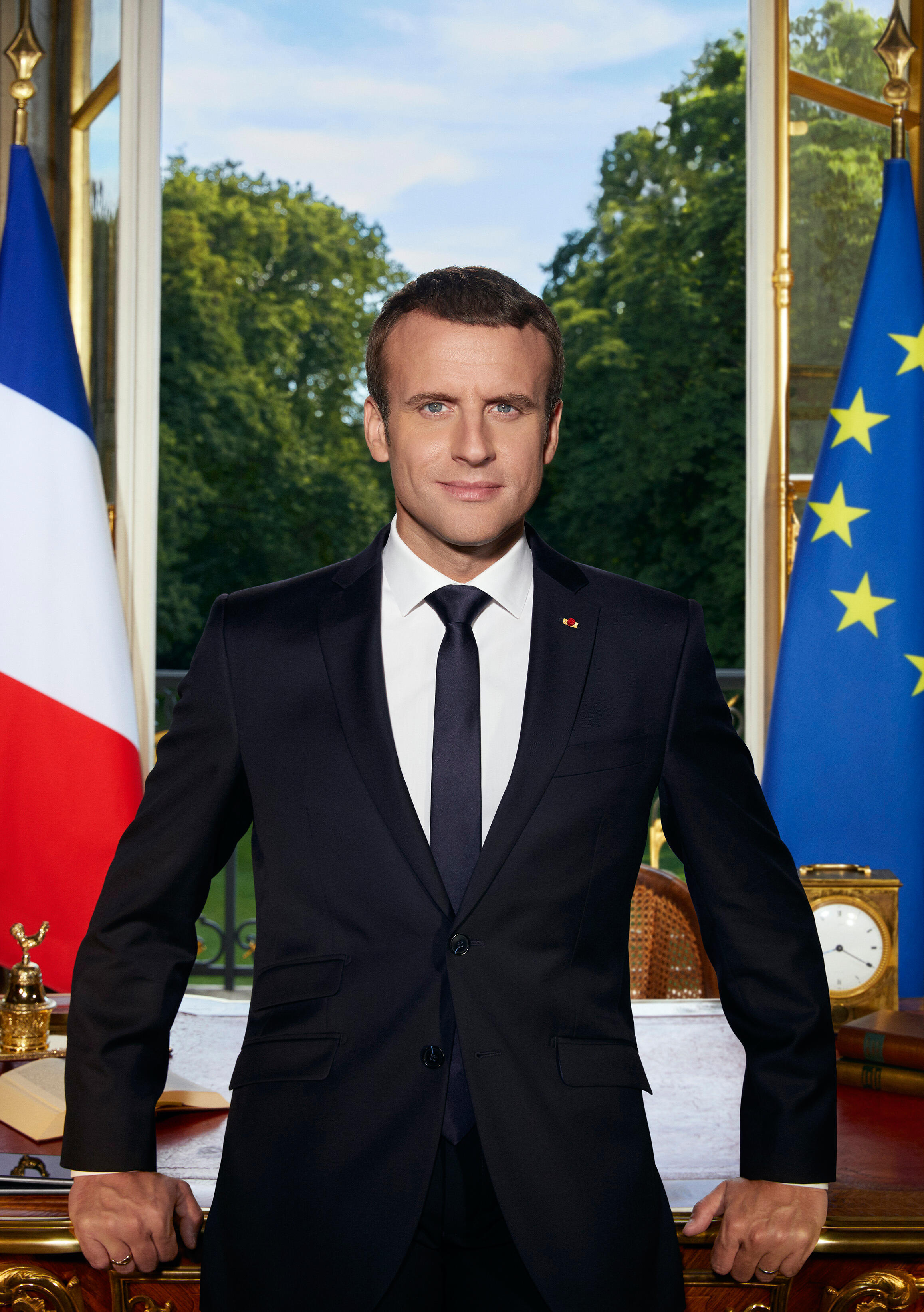 French President Emmanuel Macron's official portrait, released on Thursday