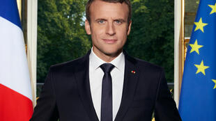 Portrait officiel du président français Emmanuel Macron.