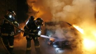 Fewer cars went up in smoke this year in France but three people were killed by knife violence