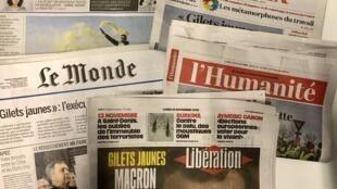 Primeiras páginas dos jornais franceses de 19 de novembro de 2018