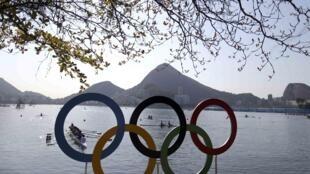 Biểu tượng Thế Vận Hội Olympic 2016 tại Rio de Janeiro, Brazil. Ảnh chụp ngày 05/08/2016.
