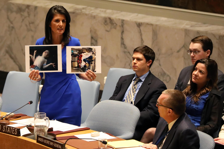 A embaixadora norte-americana, Nikki Haley, na ONU