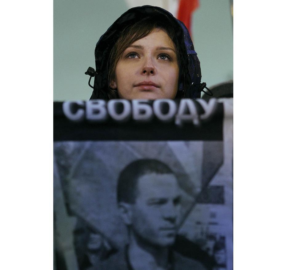 Плакат в защиту Владимира Акименкова во время пикета 30/10/2012