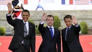 Los presidentes de Estados Unidos, Rusia y Francia en la cumbre del G8.