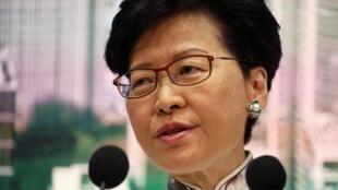 香港特首林鄭月娥召開記者會宣布擱置修例  2019年6月15日