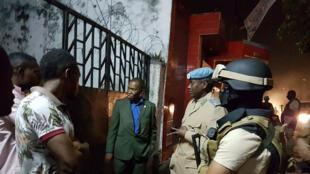 Patrouille de la MONUSCO aux sièges des partis politiques congolais saccagés lors des violentes manifestations politiques des 19 et 20 septembre 2016 à Kinshasa.