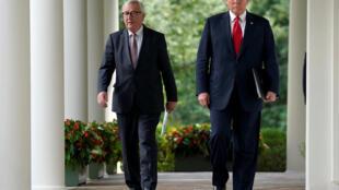 美国总统特朗普与欧盟委员会主席容克会面资料图片