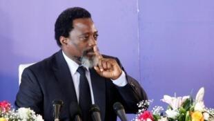 Joseph Kabila, alors président congolais, lors d'une conférence de presse, le 26 janvier 2018, à Kinshasa.