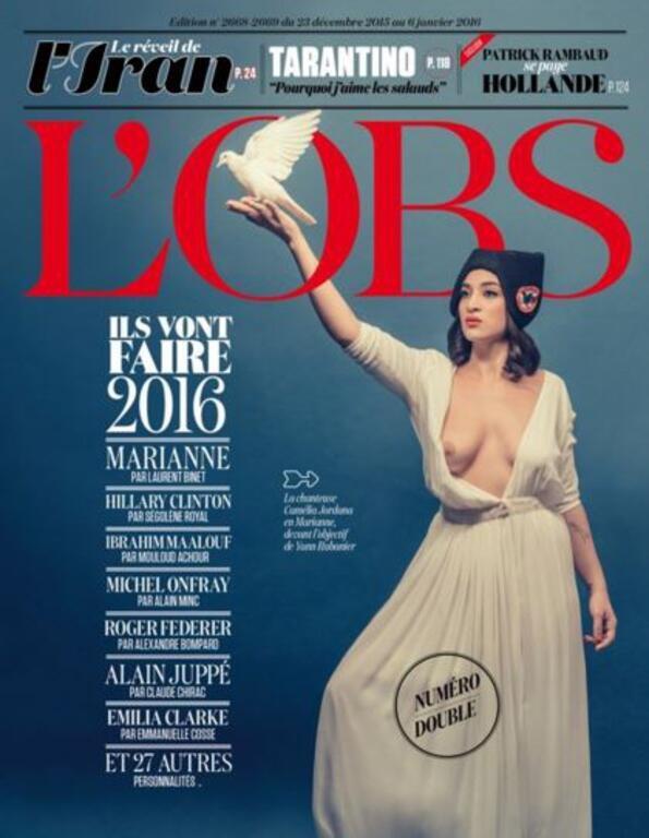 Capa da revista L'OBS, edição do 23 de dezembro de 2015 a 6 de janeiro de 2016.
