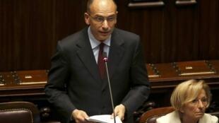 O novo premiê italiano, Enrico Letta, durante discurso desta segunda-feira no Parlamento, em Roma.