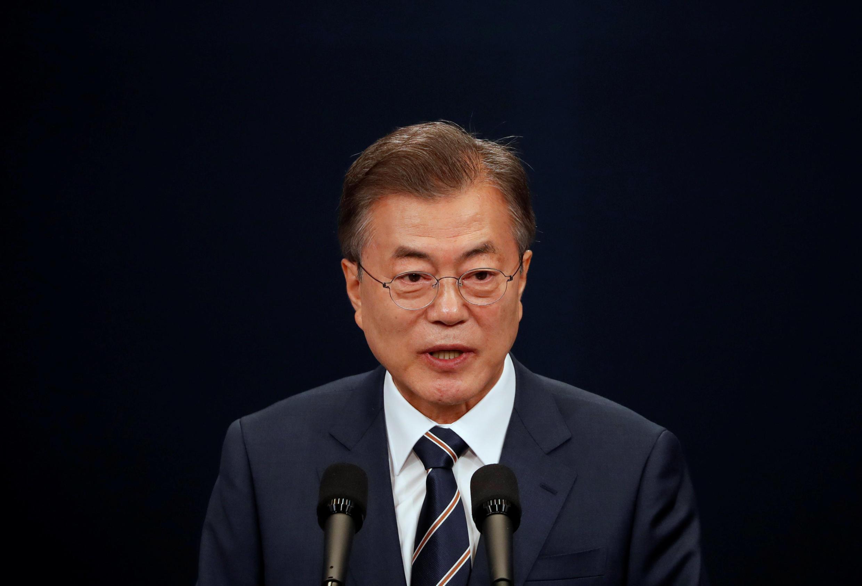 """Tổng thống Hàn Quốc, Moon Jae In họp báo tại Seoul ngày 27/05/2018 về thượng đỉnh liên Triều """"đột xuất"""" với Kim Jong Un một ngày trước đó."""