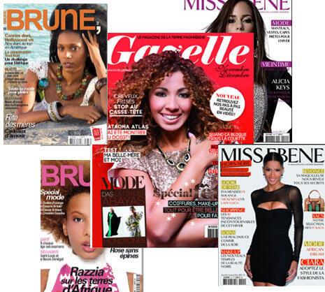 Les magazines ethniques féminins «Gazelle», «Brune» et «Miss Ebène».