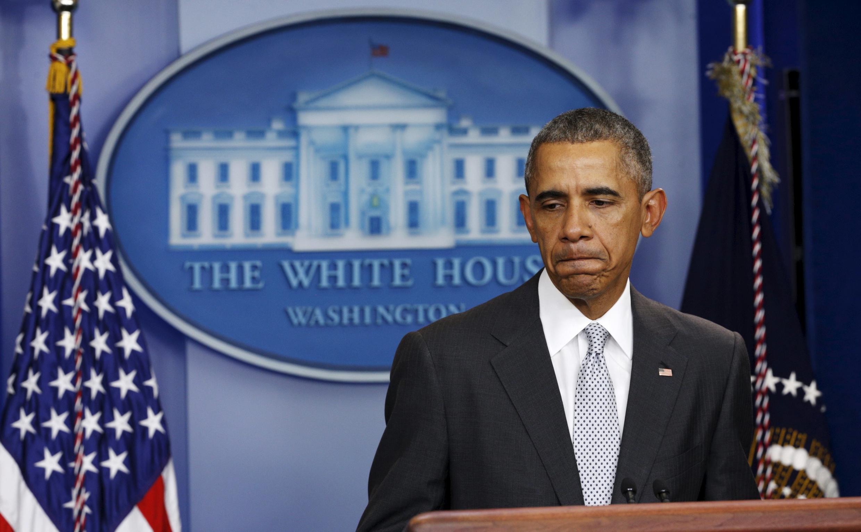 Barack Obama lors de son discours à la Maison Blanche juste après les attentats de Paris, le 13 novembre 2015.
