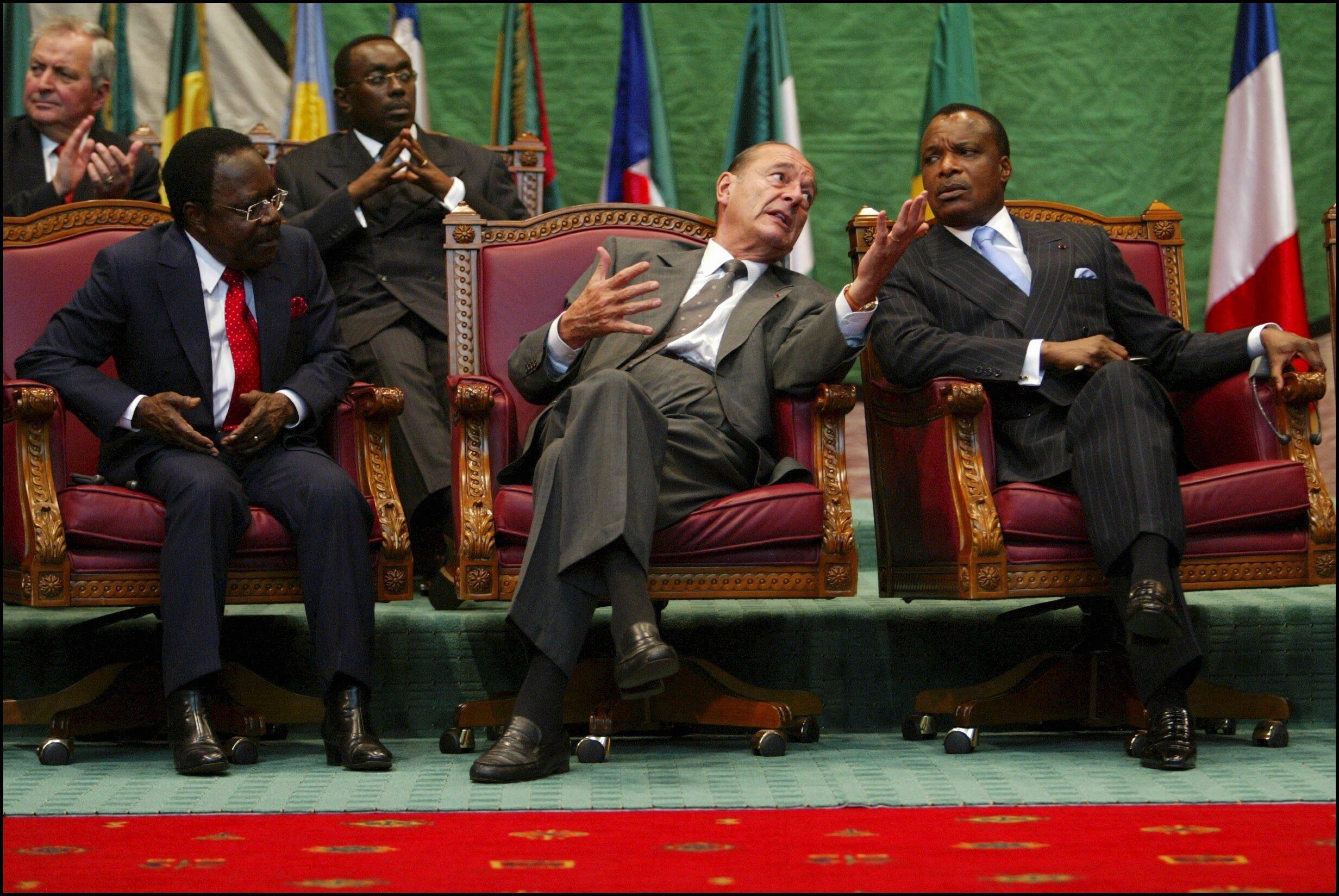 Jacques Chirac e Denis Sassou Nguesso em Brazzaville
