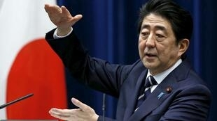 Họp báo của thủ tướng Shinzo Abe ngày 29/03/2016 tại Tokyo.