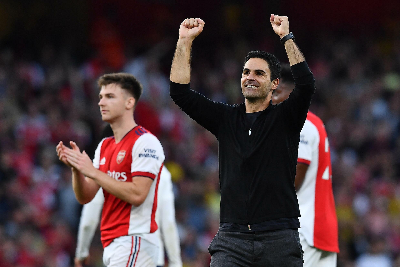 La joie de l'entraîneur espagnol d'Arsenal Mikel Arteta, après la victoire à domicile, 3-1 face à Tottenham en Premier League, le 26 septembre 2021 à l'Emirates Stadium à Londres