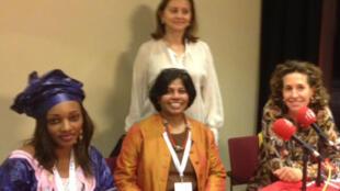 De gauche à droite : Mariam DIALLO DRAME, Mala Roobah DEVY CHETTY, Emna MENIF - Emmanuelle BASTIDE
