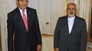伊朗外長紮里夫和美國國務卿克里 2014年11月23日在維也納會晤