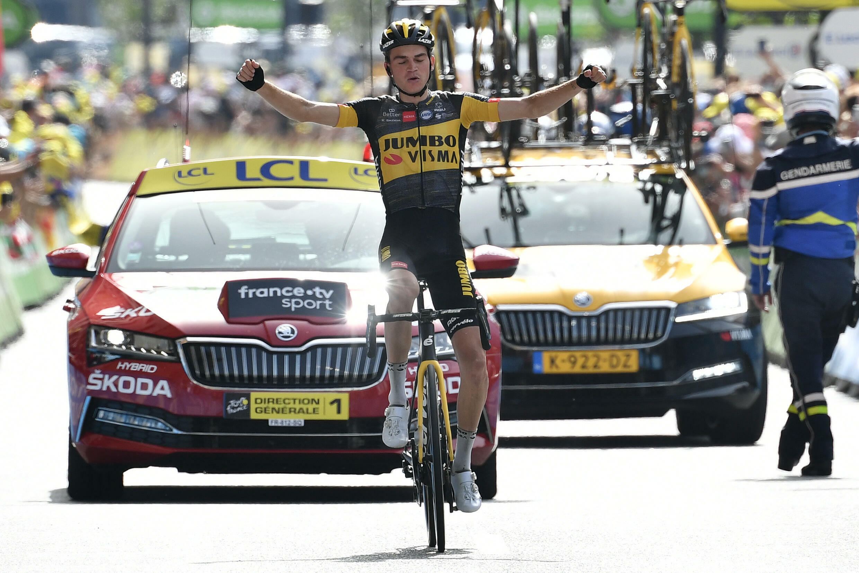 Le coureur de la Jumbo Sepp Kuss vainqueur de la 15e étape du Tour de France à Andorre-La-Vieille, le 11 juillet 2021