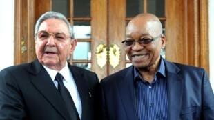 Les présidents cubain Raúl Castro (G) et sud-africain Jacob Zuma le 12 décembre 2013, lors d'un entretien bilatéral à Pretoria.