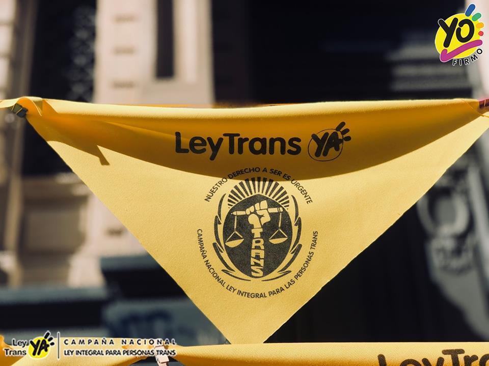 Pañuelo de la campaña para la aprobación de la Ley Integral para Personas Trans.