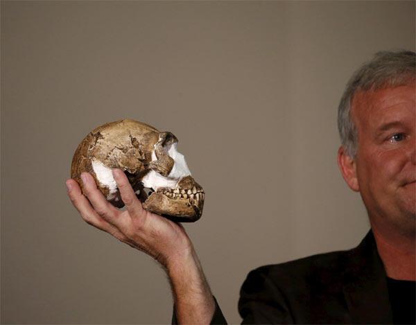 """Профессор Ли Бергер с копией черепа доисторического гоминоида """"Homo naledi"""""""